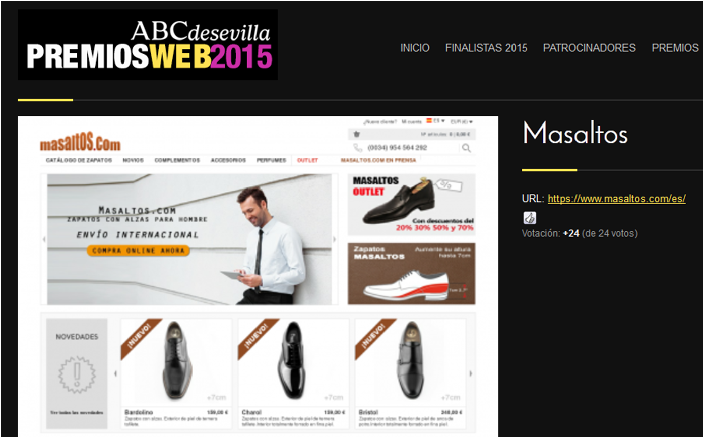 Masaltos.com ha sido elegida finalista para los premios web ABC de Sevilla 2015